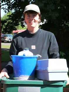 Volunteer ready to collect water quality samples.
